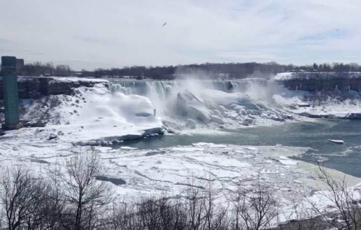 Niagara Falls. Huge volume of water falling over iced and snow-covered areas
