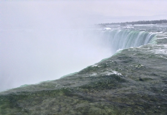View, mostly of spray, from the top of the falls