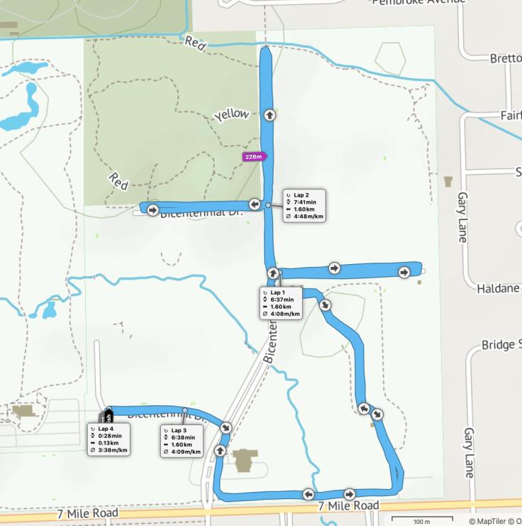 Livonia parkrun route