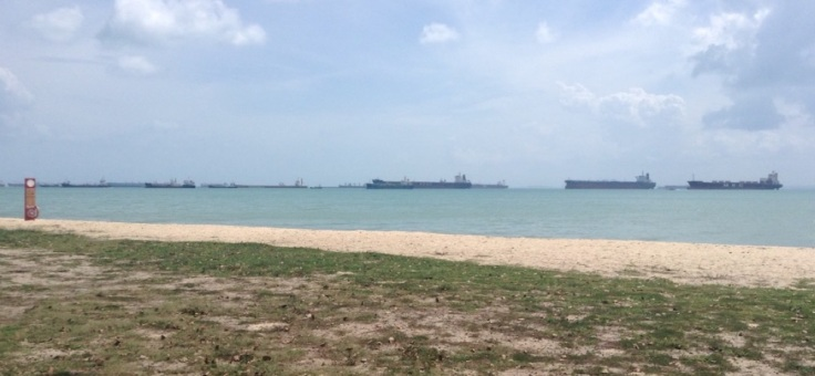 A lot of large ships queueing for entry to Singapore, off East Coast park
