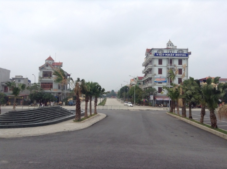 View of a square and a four-storey hotel from Ninh Binh station