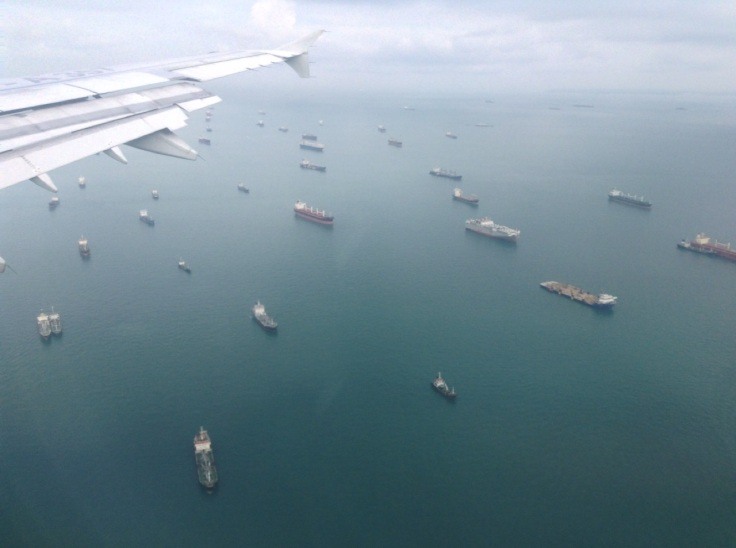 Queues of ships outside Singapore port