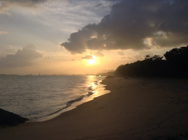 A view of the beach at sunset, Singapore