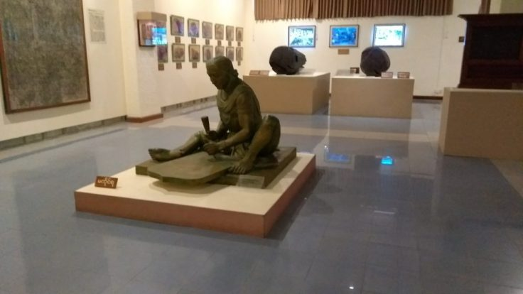 Statue and exhibits in the National Museum