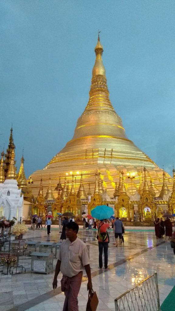 The main pagoda, gleaming as sun sets