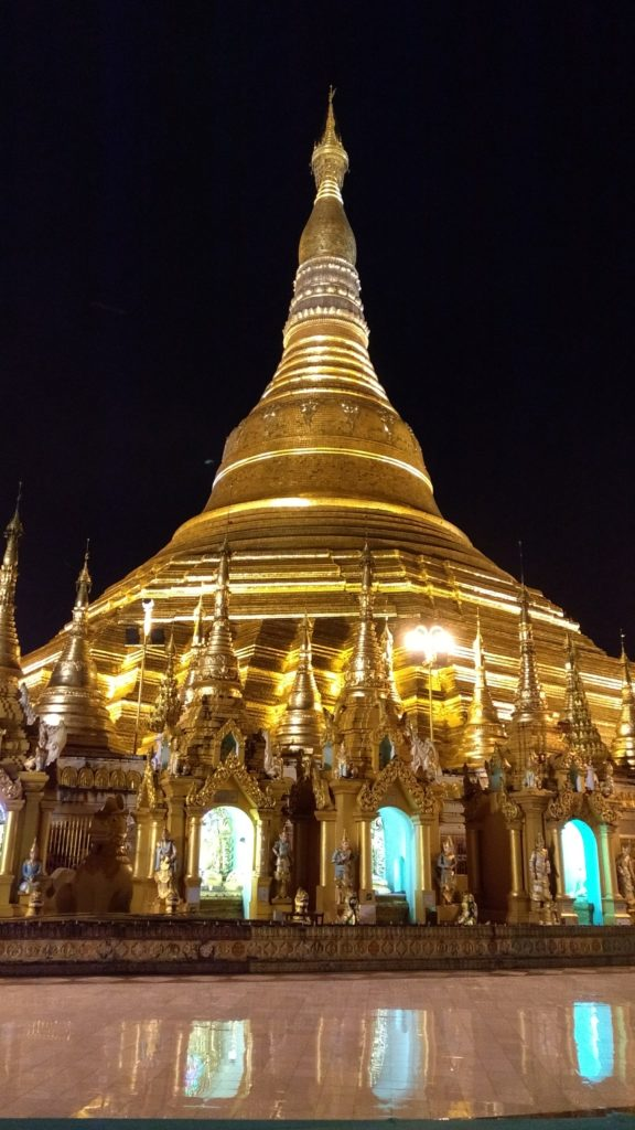 Gleaming gold pagoda by night