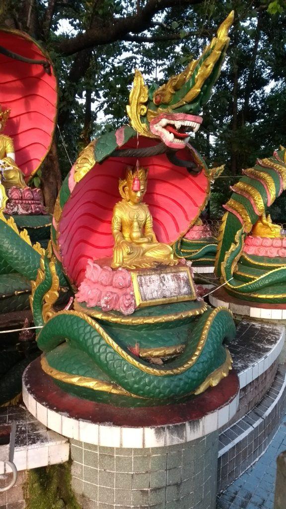 Snake and Buddha closeup