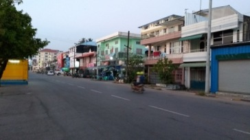Pastel-coloured waterfront buildings, Mawlamyine ('More-la-mean')