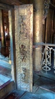 Intricate carvings, Shwenandaw monastery.