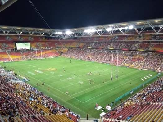 Rugby League WC action, in a less-than full stadium