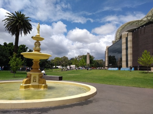 Gold fountain outside the Oval