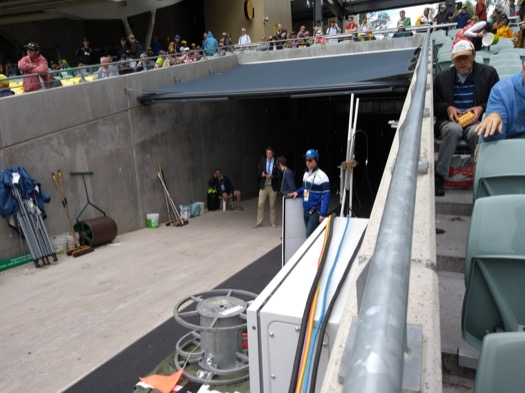 View of the stands, as Kevin Pietersen waits to come out onto the pitch to talk