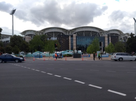 Outside view of the stadium from across the road