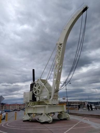 Large white crane at the docks
