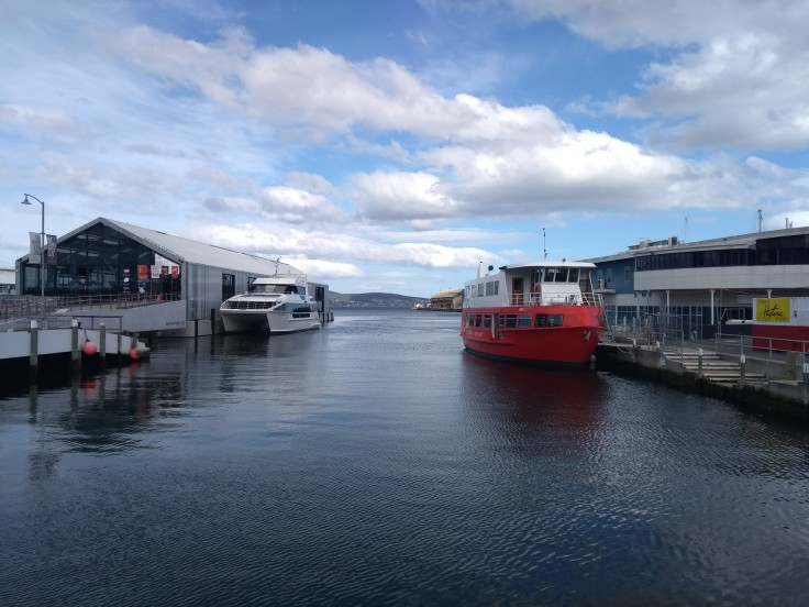 Hobart waterfront, where I sat, later.