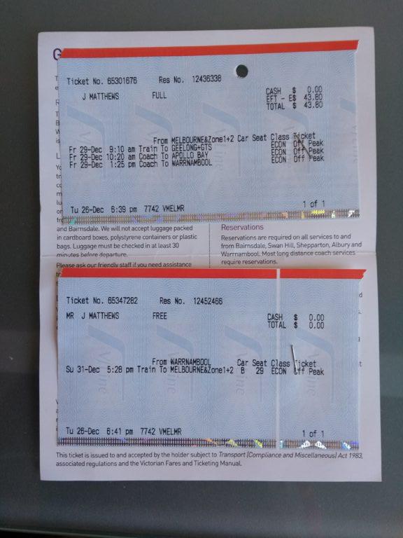 V/line tickets