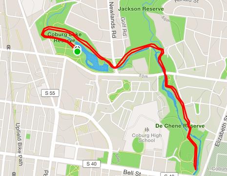 Coburg parkrun route