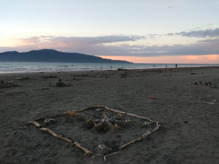 Sandcastles on Paraparaumu beach.