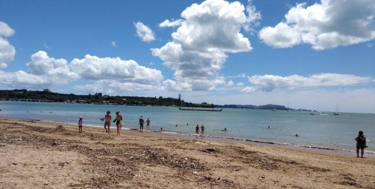 Waitangi beach, as busy as it gets.