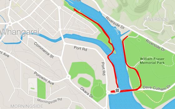 Whangerai parkrun route
