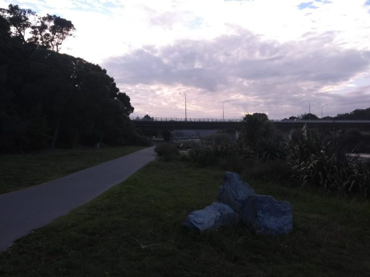 On the way back – bridge in the distance is the finish.