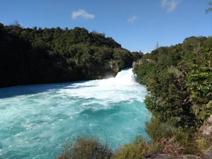 Huka falls, white water at the bottom