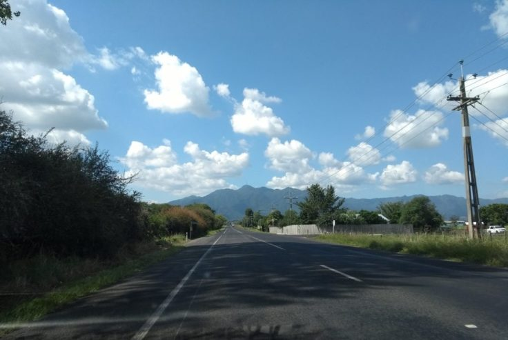 From the road, mountain in the distance.