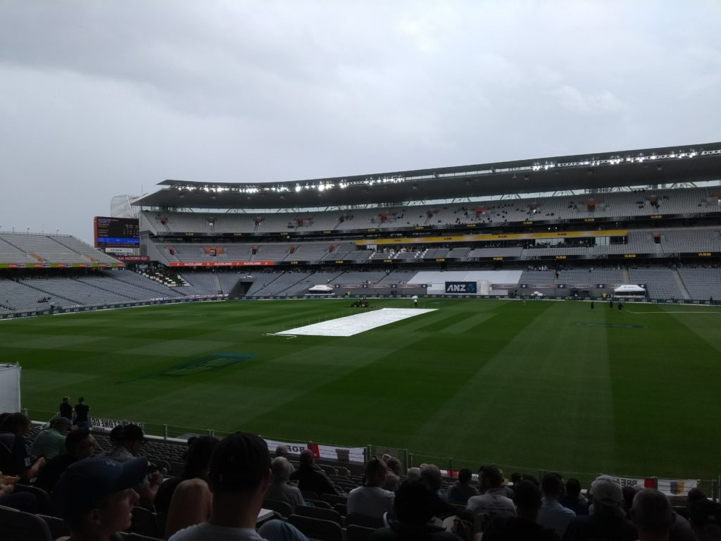 Eden Park in the rain, covers on the pitch