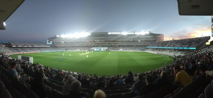 Eden Park under lights, sunset off to the right