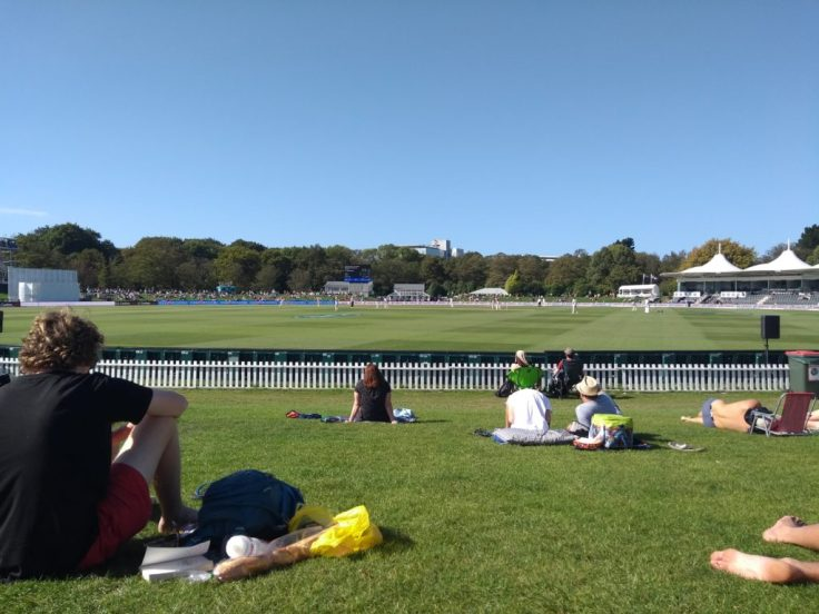 View from the bank, Hagley Oval