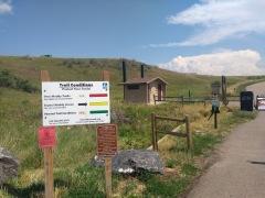 Warning signs before the Dakota Ridge trail