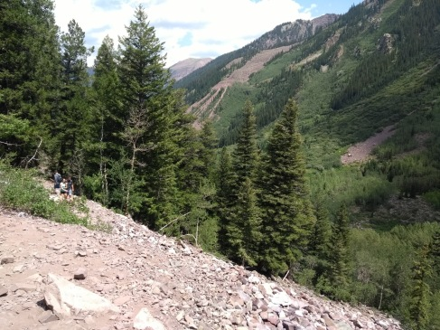 Rocky path, trees and mountain