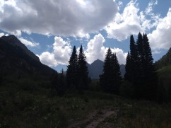 Sunny sky, clouds, trees and trail