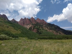 View of red/maroon rocks