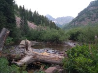 View of trees and mountains over Maroon creek
