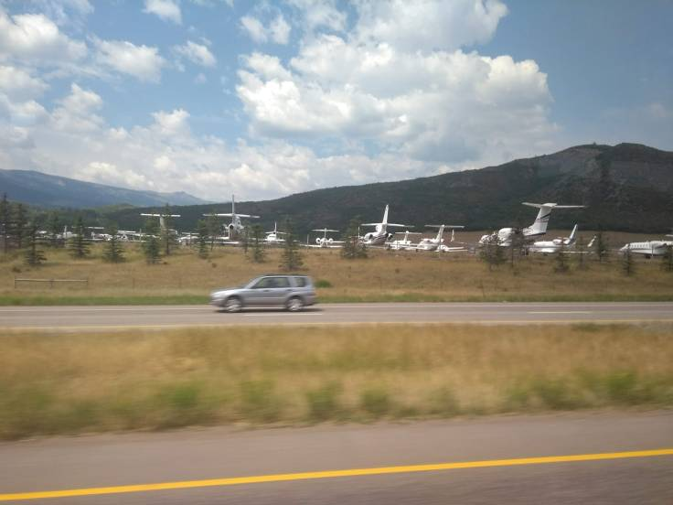 Private planes at Aspen airport
