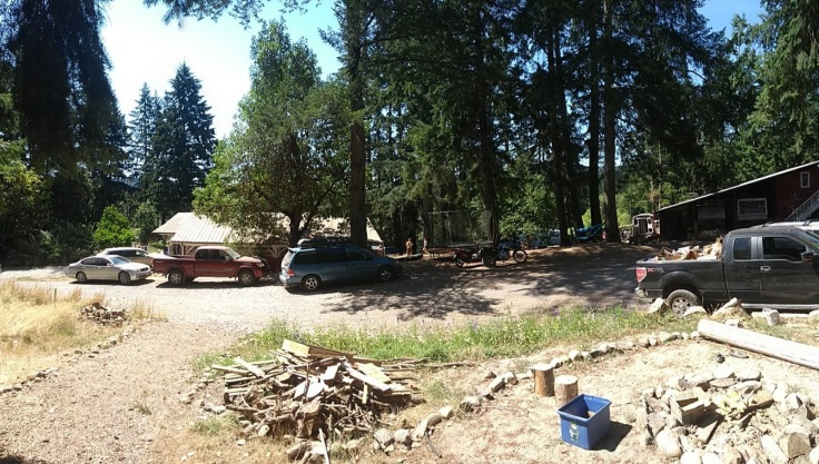 A view of the community. Trees, fire pit, cars