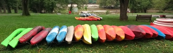 Canoes at Fletcher's Cove boathouse