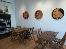 Post-run cafe, which has an artist in residence