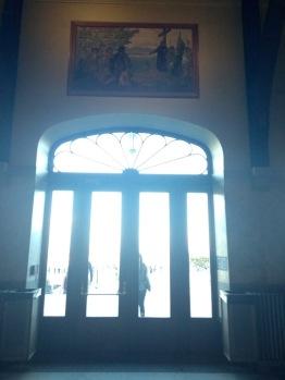 Chalet door. Note the artwork above.