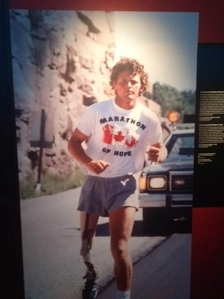 Terry Fox, diagnosed with cancer, who ran across Canada