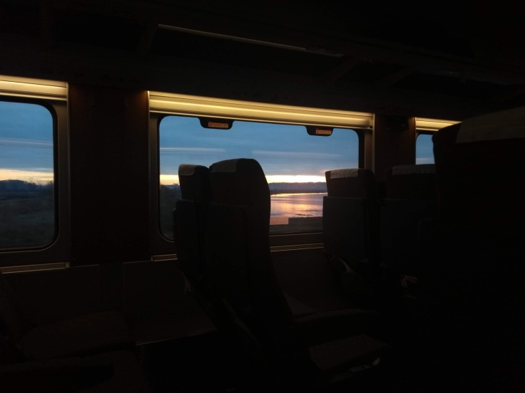 Sun rise, seen through the train