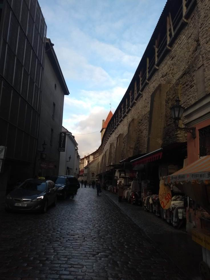 Cobbled street and market stalls