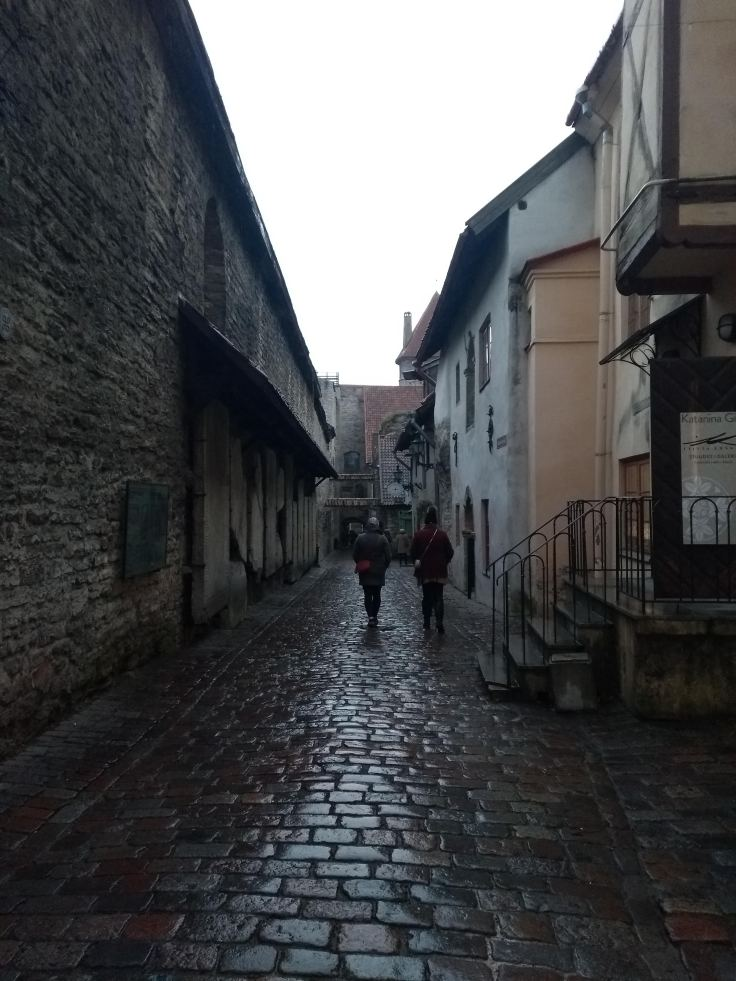 Tourists on a cobbled street