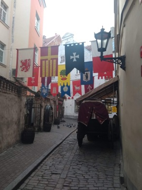 Flags outside a restaurant