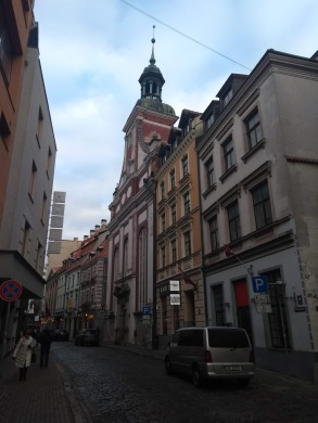 Riga's cobbled streets, church in the background