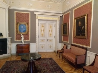 Art museum, room and paintings
