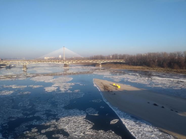 Ice flowing up the Vistula River