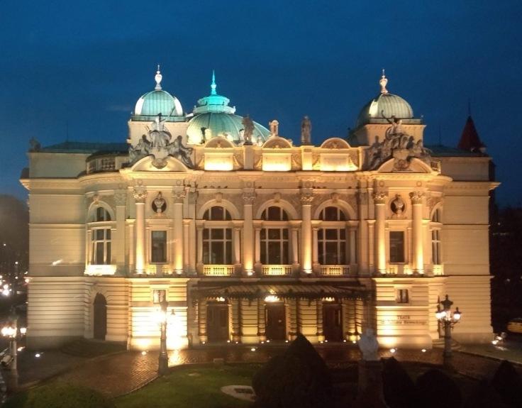Teatr im. Juliusza Słowackiego, Krakow, by night