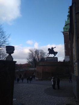 Statue of man on horse in front of Cathedral